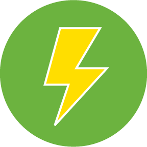 Yellow lightning bolt icon on a green circle