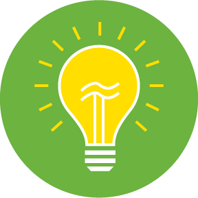 Yellow light bulb icon on a green circle