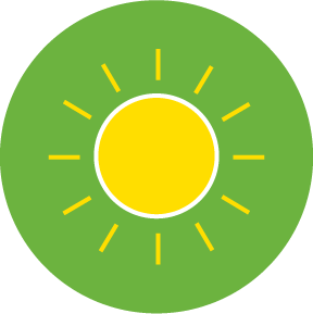 Yellow sun icon on a green circle